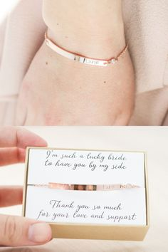 If you are looking for a beautiful, delicate keepsake gift for your bridesmaids that is personalized and something they will actually want to wear long after your wedding, then you have come to the right place! You can get this bracelet bar engraved with each bridesmaids name and even put your wedding date on the back (so its not obtrusive but still memorable). Or you can do any name, date, or short message on the front or back (1-10 characters). The name/date will be on the righthand side…