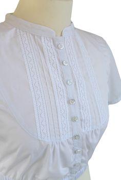 Damen Gretl Dirndl Bluse hochgeschlossen mit weißer Spitze neu Trend im mein herzblut shop Dirndl Dress, Traditional Dresses, Neue Trends, Capsule Wardrobe, Blouse Designs, Costumes, My Style, Womens Fashion, Sweaters