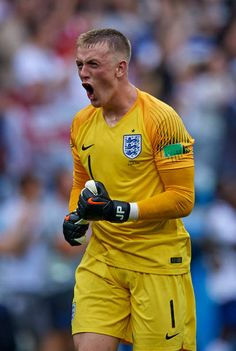 Jordan Pickford of England celebrates his team's first goal during the 2018 FIFA World Cup Russia group G match between England and Panama at Nizhny. England Football Players, England National Football Team, England Players, National Football Teams, Sport Football, England World Cup Squad, Der Club, Team Wallpaper, Everton Fc