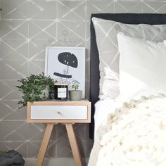 Gorgeous Scandi look bedroom in grey and white muted tones. Grey And White, Nightstand, It's Raining, Bedroom, Table, Instagram Posts, Furniture, Dark, Home Decor
