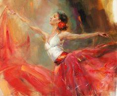 Red Dance Skirt Beautiful Girl Handpainted Impressionist Oil Painting on Canvans Female Portrait, Female Art, Anna Razumovskaya, Expositions, Silhouette, Dance Art, Figure Painting, Paintings For Sale, Custom Framing