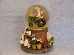 Musical Snow Globe  Farming Theme  Tractor by SashasCollectibles