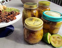 Spiced Poached Feijoas Pickles, Cucumber, Sweets, Recipes, Food, Dishes, Gummi Candy, Candy, Recipies