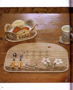 Cestinha e suporte para prato em patchwork