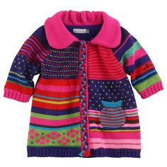 Little girls hand crochet sweater size 1 to 2 by GerardiGallery Red, fuchsia, green and purple coat made of knit. Warm fleece lining. Press-stud fastening on the front. Catimini - knit coat with a fleece lining - 17793 This Pin was discovered by Mur Kids Knitting Patterns, Coat Patterns, Knitting For Kids, Girls Sweaters, Baby Sweaters, Knitted Coat Pattern, Purple Coat, Diy Vetement, Crochet Girls