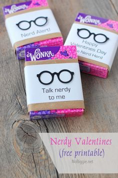 "Nerdy Valentine with free printable - ""talk nerdy to me"" - ""nerd alert"" - from ""the nerd herd"""