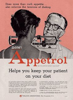 """Does more than curb appetite...also relieves the tensions of dieting."" (Magazine advertisement circa 1959, Wallace Laboratories.)"