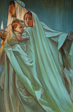 Escape By Night, prophetic art by Rose Datoc Dall. Jesus with Mary and Joseph. What beautiful blue and green glowing colors! Blessed Mother Mary, Blessed Virgin Mary, Lds Art, Bible Art, Catholic Art, Religious Art, Jesus Art, Jesus Christ, Mama Mary
