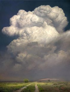 "amazing clouds Colossus ~ artist P. Nisbet, Colossus, oil, 48 x 36 inches. Nisbet's painting is on the cover of the newly released book, ""Art Journey America Landscapes: 89 Painters"" Landscape Art, Landscape Paintings, All Nature, Sky And Clouds, Belle Photo, Painting Inspiration, Painting & Drawing, Art Photography, Scenery"