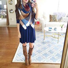 Southern Curls & Pearls | navy swing dress // checked blanket scarf //...