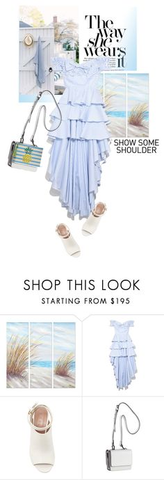 """Baby blue stripes"" by lidia-solymosi ❤ liked on Polyvore featuring Yosemite Home Décor, Marni, Kendall + Kylie and Kayu"