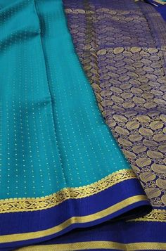 Blue Handloom Mysore Crepe ... Blue Fabric, Silk Fabric, Woven Fabric, Crepe Silk Sarees, Silk Crepe, Mysore Silk Saree, Color Schemes, Fashion, R Color Palette