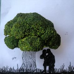 Once he used to be young, wild and free. His fondest memories, his first kiss, under the shadow of a tree. #love #art #officeart #broccoli #tree #childhoodfavorite #lovestory #lovetree #couple #everydayart #objectart #doodle #drawing #sketch #creative #illustration #ideas #instaart #artwork #idea_in_picture #and_draw_something #silhouette #landscape #firstkiss #nofilter #original #