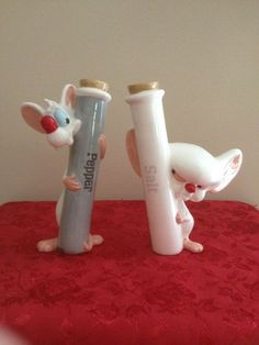 Pinky And The Brain Test Tubes Salt And Pepper Shakers by MelsEstateSale on Etsy Salt N Pepa, Salt And Pepper Set, Kitchen Witch, Salt Pepper Shakers, Cookie Jars, Test Tubes, Pottery, Stuffed Peppers, Cool Stuff