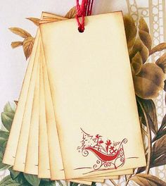 Christmas Tags Party Favor Vintage Style Santa Sleigh by bljgraves