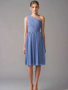 Sky Blue One Shoulder Draped Chiffon Cocktail Bridesmaid Dress