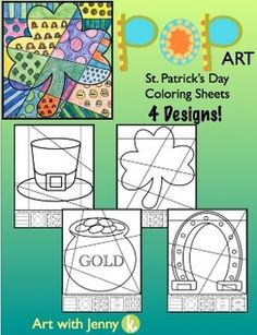 Have some real fun this March with my Pop Art St. Patrick's Day coloring sheets. In this art activity, students add bold patterns to different St. Patrick's Day symbols and then color their designs to produce a Pop Art styled St. Patrick's Day picture. Great, creative lesson for the kids!