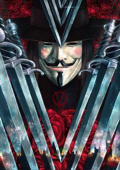 'V for Vendetta! By Vasilis Zikos aka Kid Eternity V For Vendetta Tattoo, Illustrations, Illustration Art, V Pour Vendetta, Feeling Pictures, The Fifth Of November, Hacker Wallpaper, Desenho Tattoo, Cultura Pop