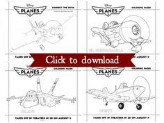 Disneys planes coloring pages collage