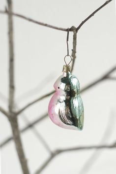Vintage Christmas tree ornament TINY bird Bullfinch