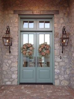 Bevolo gas lights on beautiful stone house Love the doors too Country Front Door, Painted Front Doors, Door Design, Front Door Paint Colors, Exterior Lighting, Front Entry Doors, Painted Doors, Exterior Doors, House Exterior