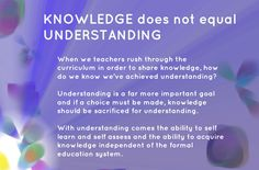 https://flic.kr/p/GryVcN | Educational Postcard: KNOWLEDGE not equal UNDERSTANDING | The image for this postcard comes from a modified screen capture of a Bonomo image.
