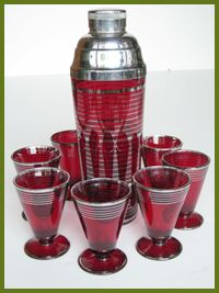 Ruby red glass with sterling overlay cocktail-shaker-set Vintage Bar, Vintage Kitchen, Gin Joint, Art Deco Bar, Everyday Dishes, Kitchen Ware, Cocktail Shaker, Bar Set, Glass Collection