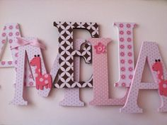 Wooden letters for nursery spelling out your child's name coordinate with Pottery Barn Kids Ava Mod Giraffe bedding l Wooden Name Letters, Wooden Letters For Nursery, Baby Letters, Letter Wall, Unusual Baby Names, Upcycled Crafts, Nursery Decor, Safari Nursery, Girl Nursery