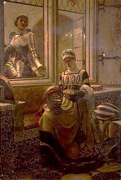 """""""A Love Token"""" by Edmund Blair Leighton(1852-1922). English."""