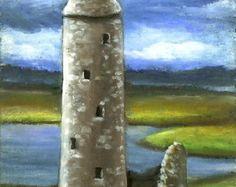 Oil Pastel Paintings of castles   ... tower - 5x7 PRINT of an original oil pastel painting by Tanya Bond