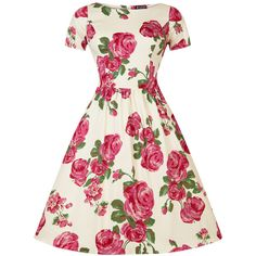 Pink Rose Floral on Cream Eloise Dress ($62) ❤ liked on Polyvore featuring dresses, garden party, skater skirt, pink circle skirt, white dress, circle skirt et white pleated dress