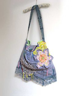100 OFF Faded Blue Flower Bag Hand Dyed Linen by AllThingsPretty