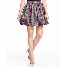Alice + Olivia Stora Printed Pouf Skirt ($330) ❤ liked on Polyvore
