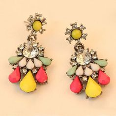 Pair of Sweet Waterdrop Shaped Faux Gem Decorated Special Design Pendant Earrings For Women