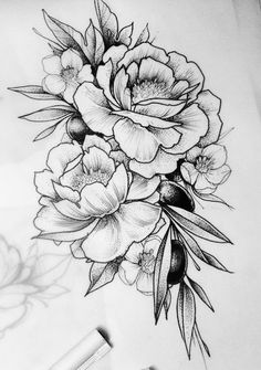54 Trendy Flowers Tattoo Sketch Peonies tattoo designs ideas männer männer ideen old school quotes sketches Tattoo Femeninos, Form Tattoo, Shape Tattoo, Piercing Tattoo, Tattoo Thigh, Tattoo Flash, Tattoo Sketches, Tattoo Drawings, Body Art Tattoos