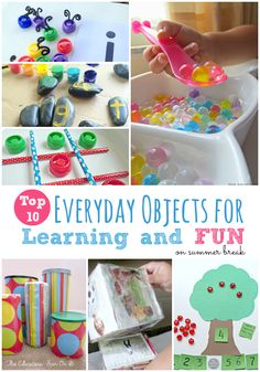 Top 10 Everyday Objects for Summer Learning and Fun. Avoid summer slide and get ready for back to school with these simply activities for your kids. Preschool Learning, Early Learning, Preschool Activities, Kids Learning, Toddler Fun, Toddler Preschool, Toddler Activities, Summer Activities For Kids, Diy For Kids