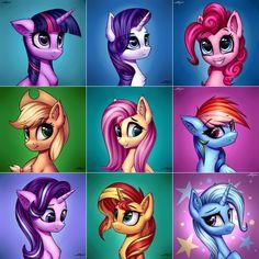 #1707369 - applejack, artist:setharu, edit, fluttershy, mane six, pinkie pie, rainbow dash, rarity, safe, starlight glimmer, sunset shimmer, trixie, twilight sparkle - Derpibooru - My Little Pony: Friendship is Magic Imageboard