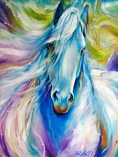 Ponies, horses and equestrian gif animations, moving pony and horse pictures and clip art images Painted Horses, Horse Artwork, Horse Drawings, Fantasy Paintings, Equine Art, Horse Pictures, Art Portfolio, Beautiful Horses, Oeuvre D'art