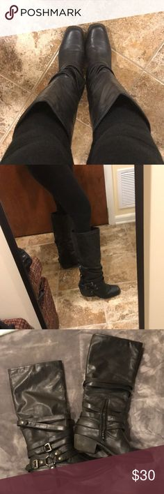 """Pink & pepper leather boots. 2"""" heels. Vintage style/ cowgirl look. These have been worn several times but still in great condition. 7 & ½"""" calf width. 14"""" tall. Pink & Pepper Shoes Heeled Boots"""