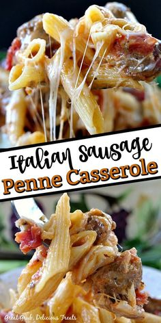 Italian Sausage Penne Casserole is loaded with deliciously seasoned Italian sausage, pasta and loaded with cheese. #italianfood #italiansausage #casserole #dinnerrecipe #greatgrubdelicioustreats Easy Casserole Recipes, Easy Pasta Recipes, Casserole Dishes, Easy Dinner Recipes, Easy Meals, Penne, Italian Casserole, Italian Sausage Pasta, Sausage Recipes