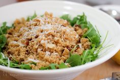 Arugula Salad with Quinoa, Sun-dried Tomatoes & Parmesan