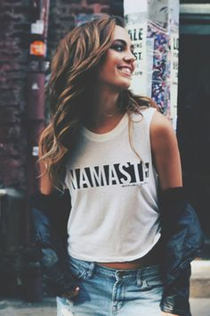 Modern Yoga Clothing: NAMASTE CROP TANK MOONBEAM