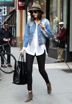 Jean jacket, white shirt, black pants and ankle boots