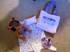 "Handcrafted 13"" Baby Alive Diaper Set 2 Diapers Bib Blanket Pillow Bag Purple 