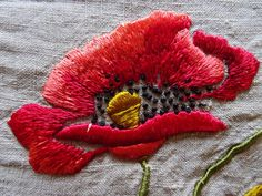 """Vintage Hand Embroidered 23"""" X 23"""" ART DECO POPPIES Linen Tablecloth Cover Panel 