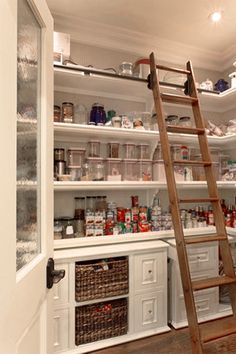 pantry. Bottom cabs with open top shelving. Add counter surface. Have a couple of these ladders....now to just build the room to use them in~