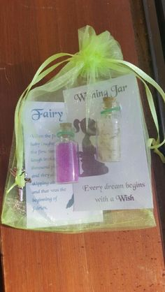 Fairy tinkerbell DIY party favour fairy dust wishing jar