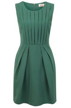 ...pleated green dress