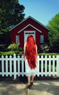 long red hair! ok this is my goal....I will get there in length and color LOL