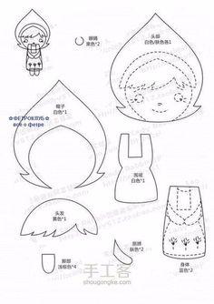 Molde encontrado na internet. Original é russo. Boneca pequena em feltro com bordado.